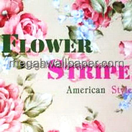 WALLPAPER FLOWER STRIPE